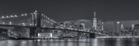 New York Skyline foto - Brooklyn Bridge in zwart-wit