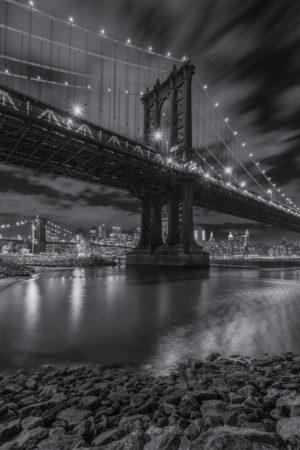 New York Skyline foto - Manhattan Bridge in zwart-wit