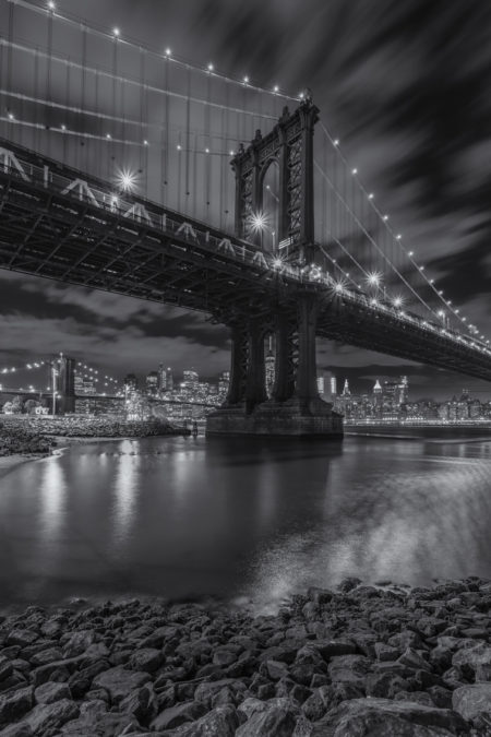 New York Skyline foto - Manhattan Bridge in zwart-wit
