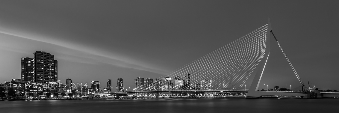 erasmusbrug in rotterdam in zwart-wit   tux photography shop