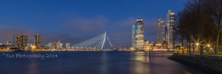 Rotterdam skyline met Erasmusbrug in de avond | Tux Photography Shop