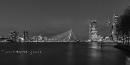 Rotterdam skyline met Erasmusbrug in zwart-wit | Tux Photography Shop