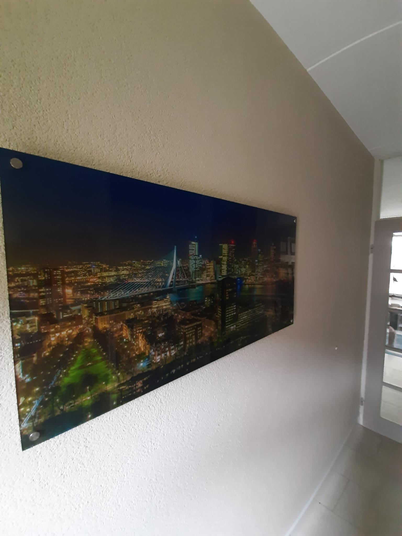 Rotterdam Skyline uitzicht vanaf de Euromast op plexiglas
